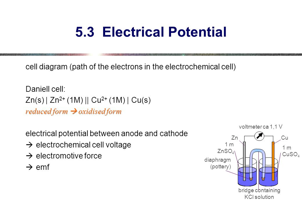 5.3 Electrical Potential cell diagram (path of the electrons in the electrochemical cell) Daniell cell:
