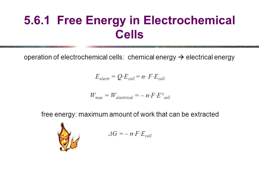 5.6.1 Free Energy in Electrochemical Cells