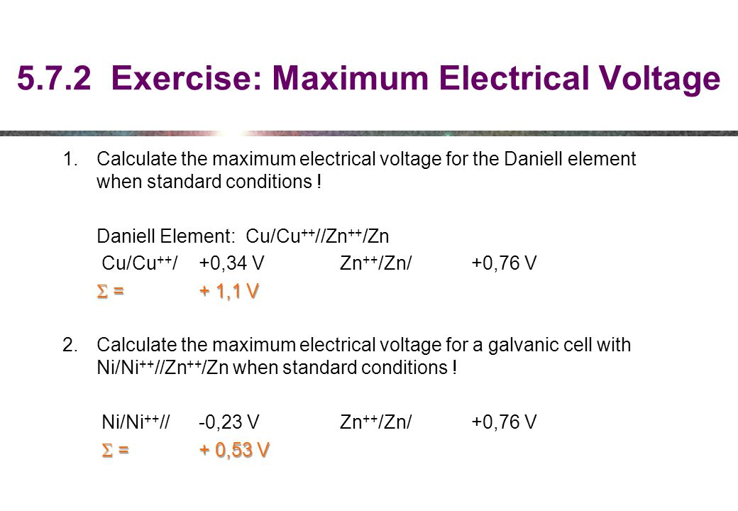 5.7.2 Exercise: Maximum Electrical Voltage