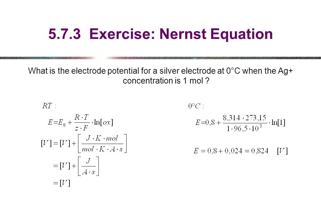 5.7.3 Exercise: Nernst Equation