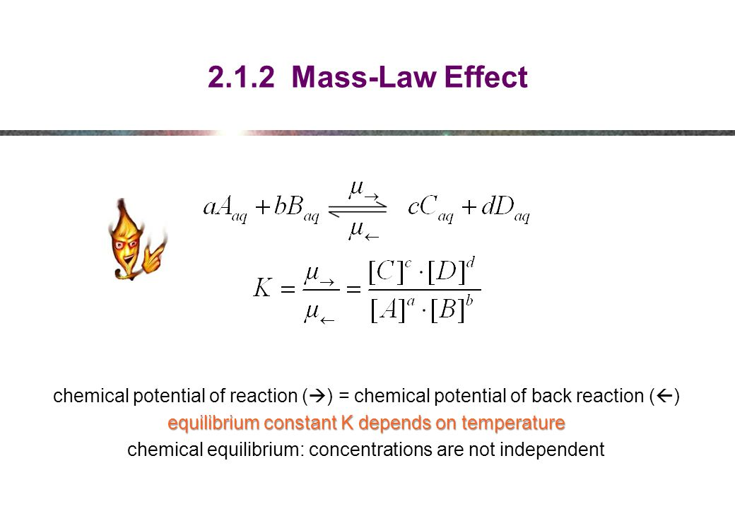 2.1.2 Mass-Law Effect chemical potential of reaction () = chemical potential of back reaction ()