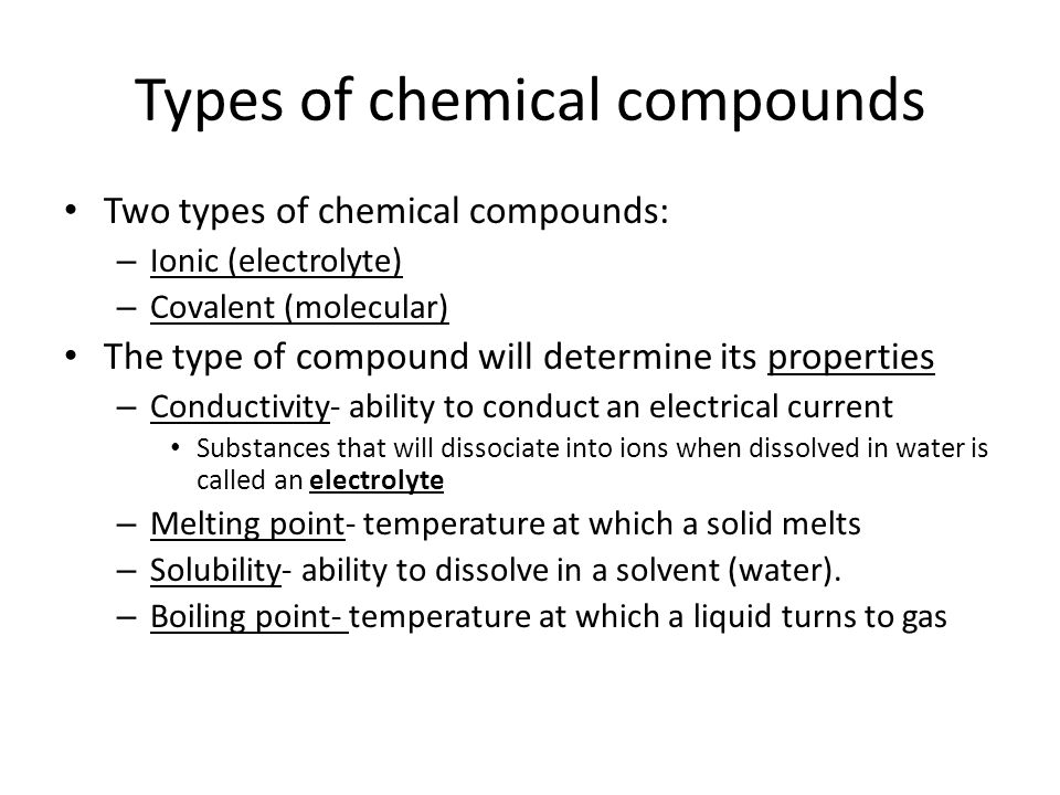 Types of chemical compounds