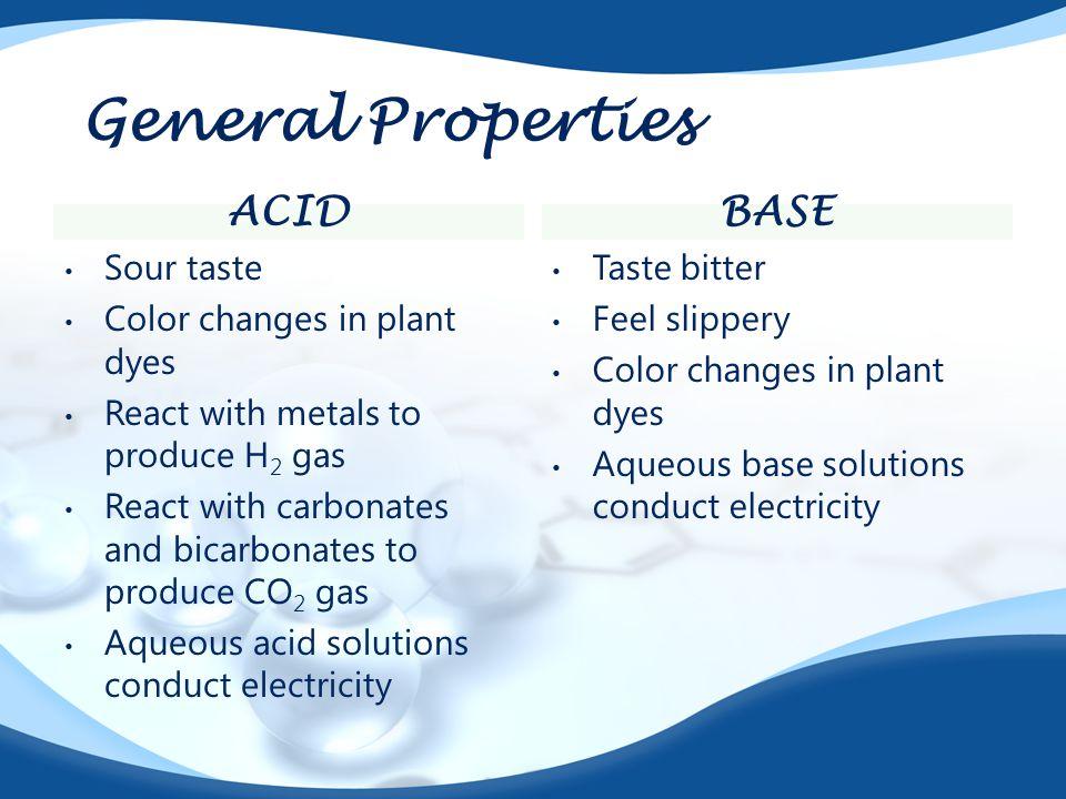 General Properties Acid base Sour taste Color changes in plant dyes