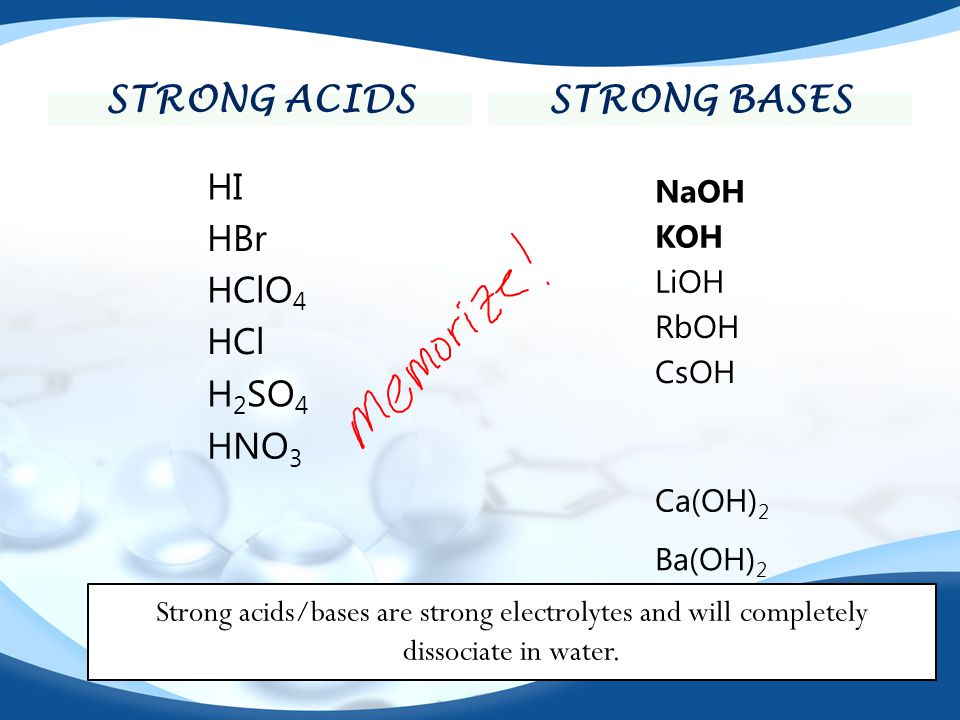 Strong acids Strong bases
