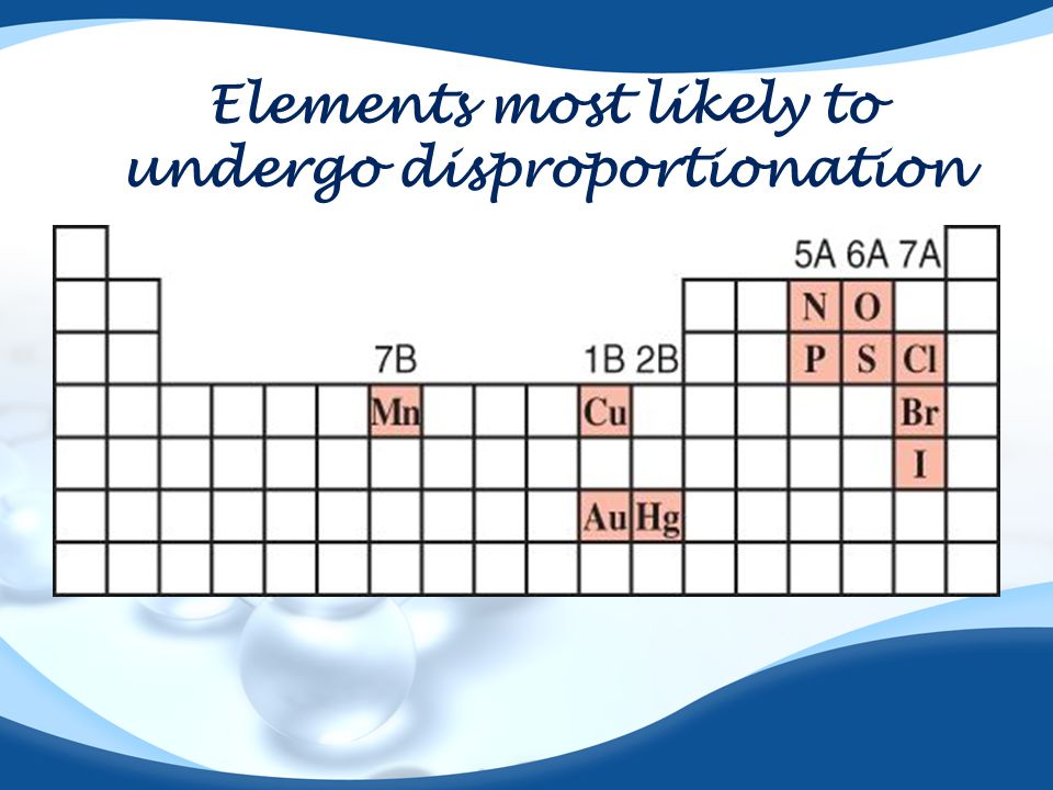Elements most likely to undergo disproportionation