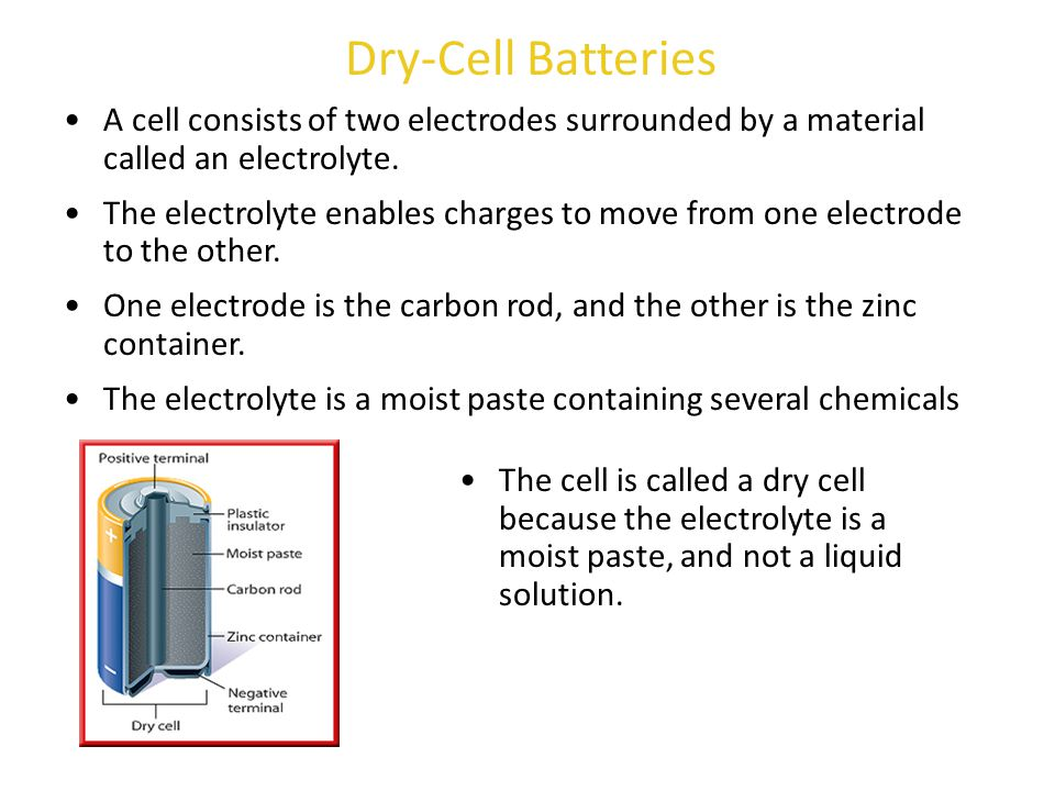 Dry-Cell Batteries A cell consists of two electrodes surrounded by a material called an electrolyte.