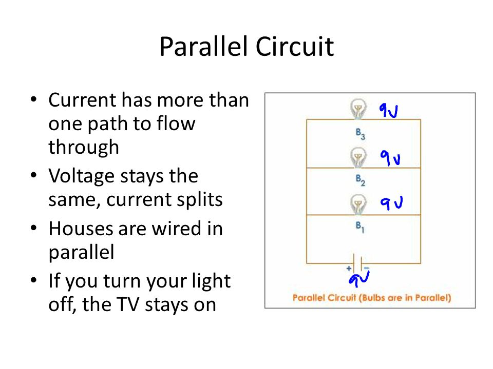 Parallel Circuit Current has more than one path to flow through