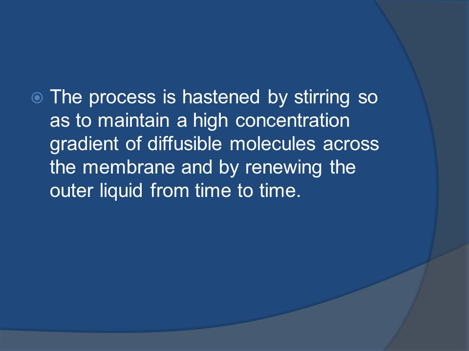 The process is hastened by stirring so as to maintain a high concentration gradient of diffusible molecules across the membrane and by renewing the outer liquid from time to time.