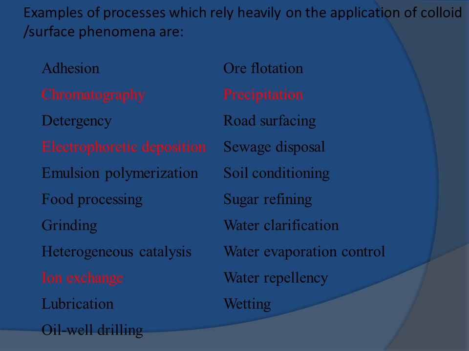 Examples of processes which rely heavily on the application of colloid