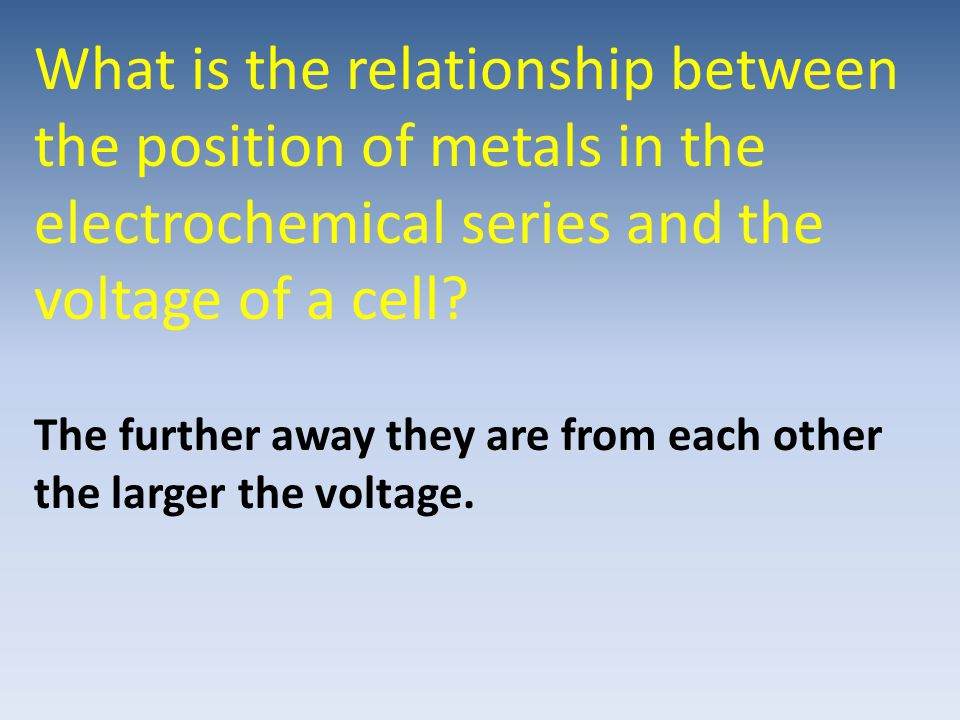 What is the relationship between the position of metals in the electrochemical series and the voltage of a cell