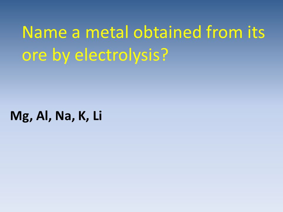 Name a metal obtained from its ore by electrolysis