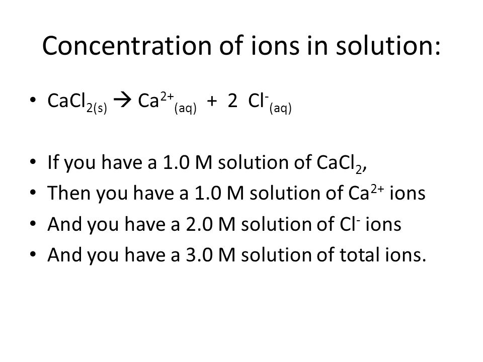 Concentration of ions in solution: