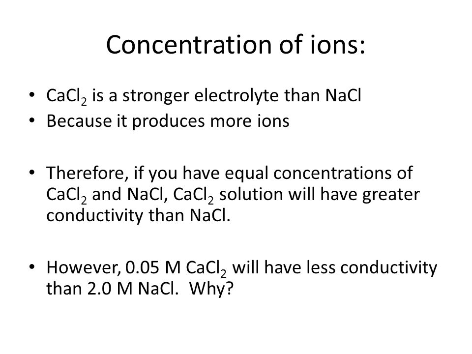 Concentration of ions: