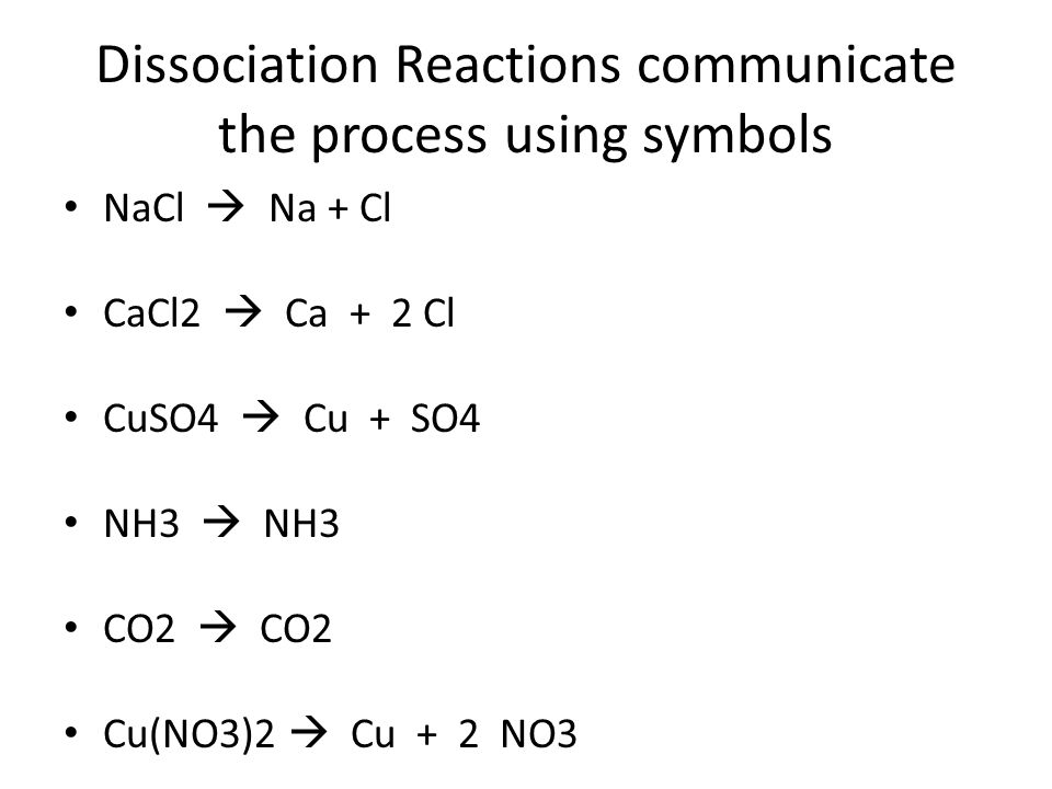 Dissociation Reactions communicate the process using symbols