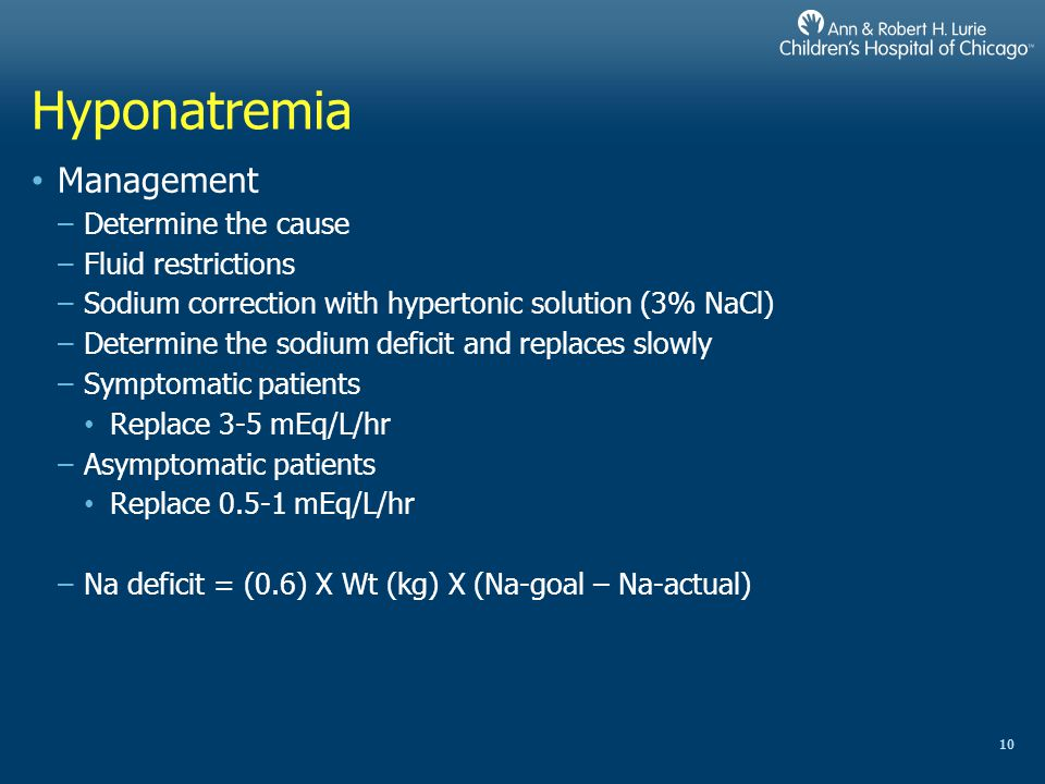 Hyponatremia Management Determine the cause Fluid restrictions