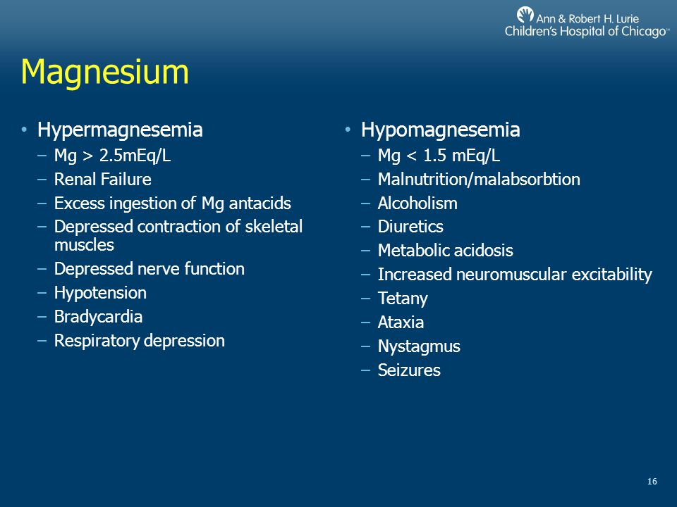 Magnesium Hypermagnesemia Hypomagnesemia Mg > 2.5mEq/L