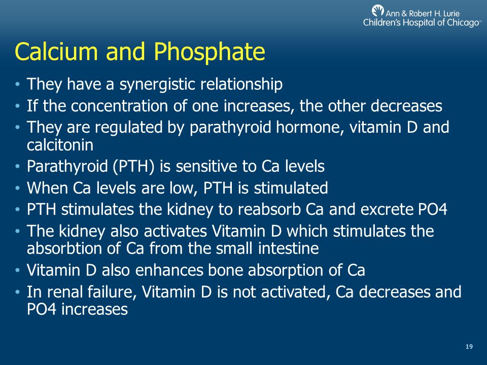 Calcium and Phosphate They have a synergistic relationship