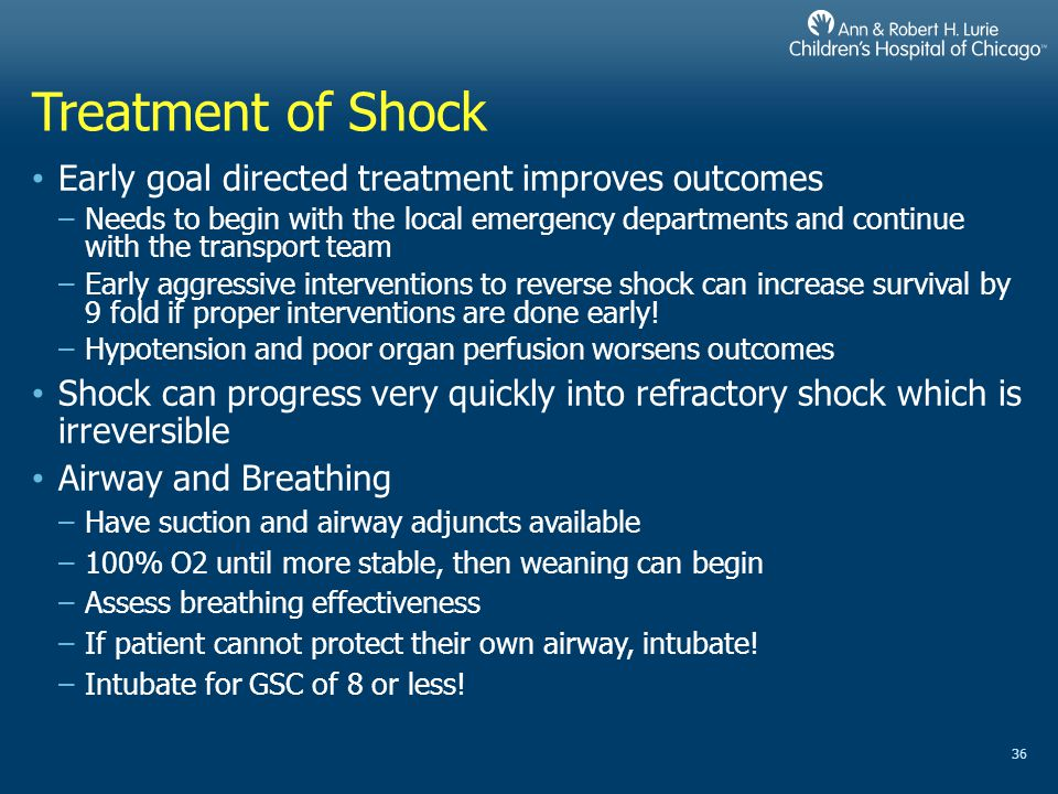 Treatment of Shock Early goal directed treatment improves outcomes