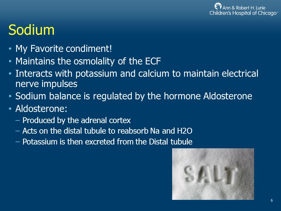 Sodium My Favorite condiment! Maintains the osmolality of the ECF