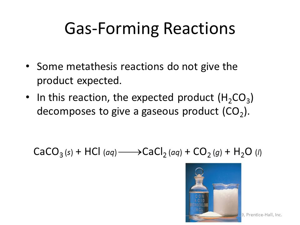 what is a metathesis chemical reaction Best answer: metathesis reactions can occur between two inorganic salts when one product is insoluble in water, driving the reaction forward, as in the following examples: one of the compounds formed is usually a precipitate, an insoluble gas that bubbles out of the solution or an insoluble solid, or a molecular compound, usually water.