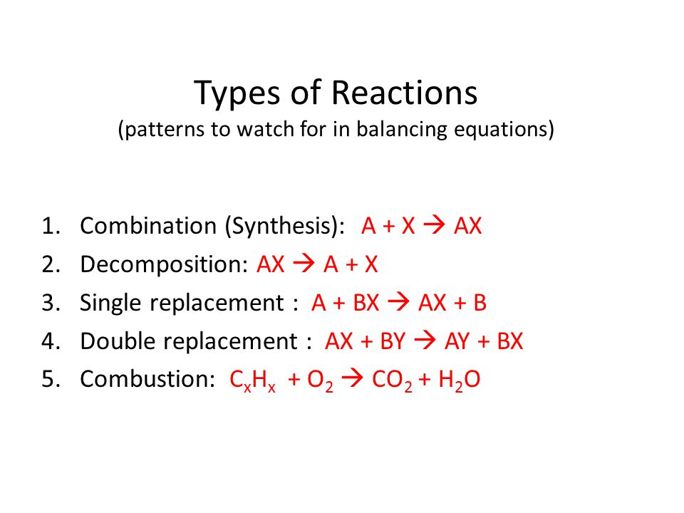 Types of Reactions (patterns to watch for in balancing equations)