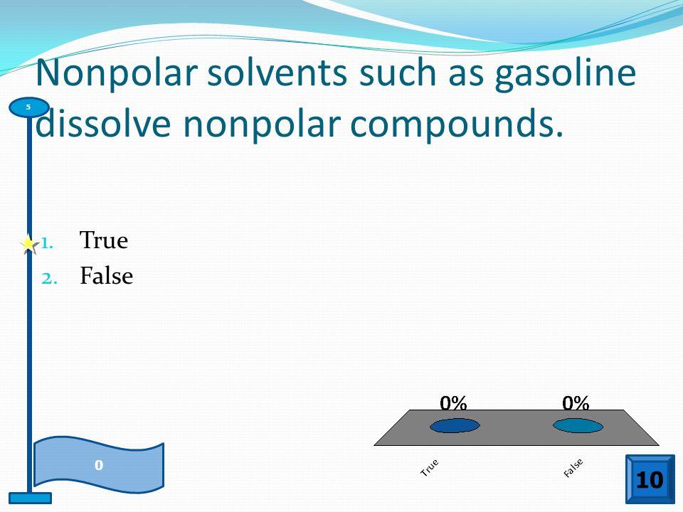 Nonpolar solvents such as gasoline dissolve nonpolar compounds.