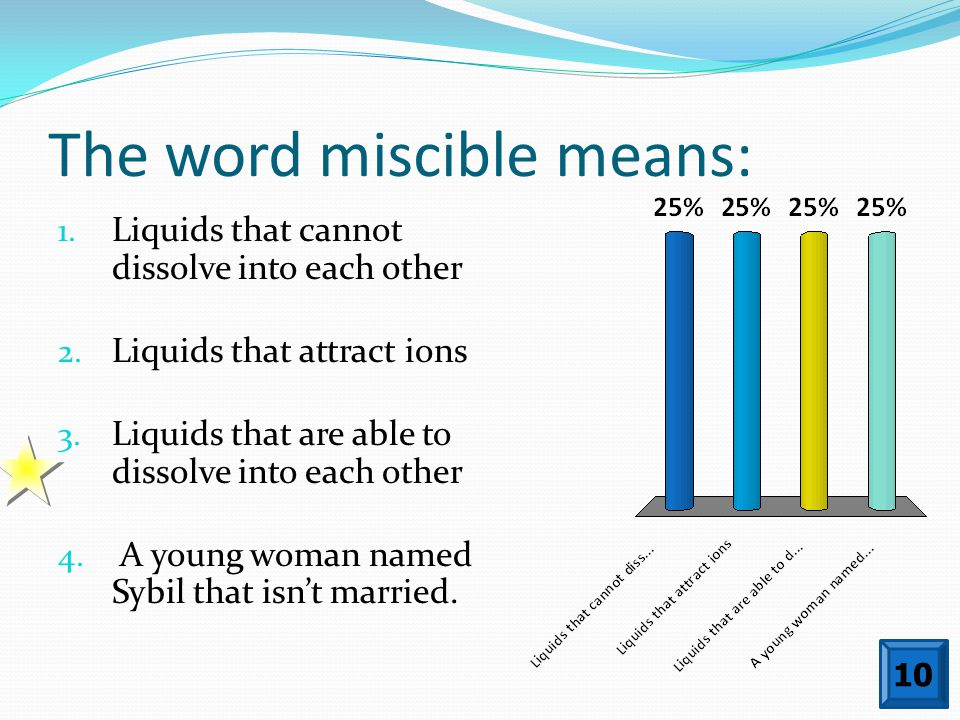 The word miscible means: