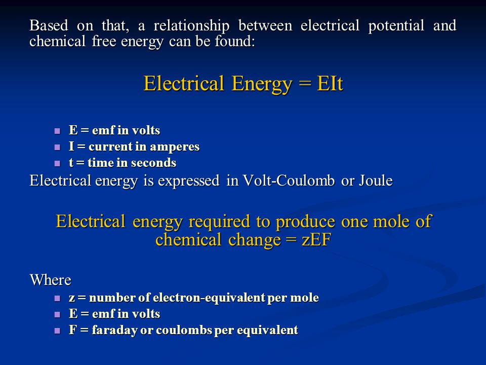 Electrical Energy = EIt