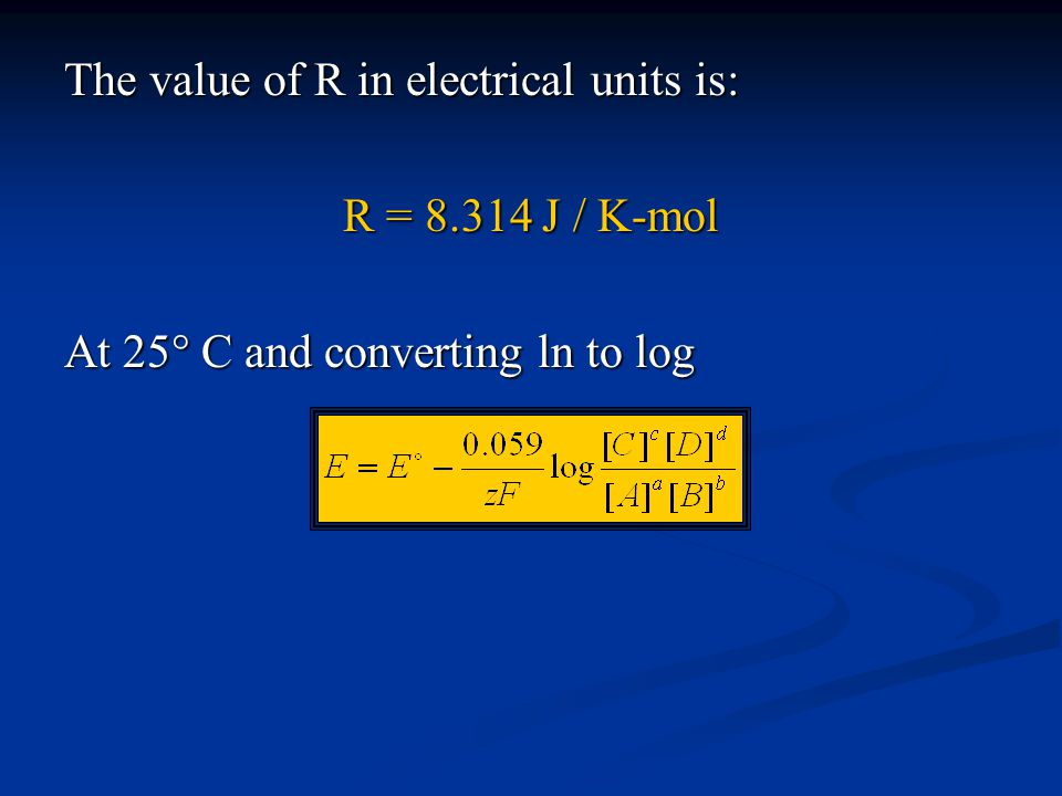 The value of R in electrical units is: