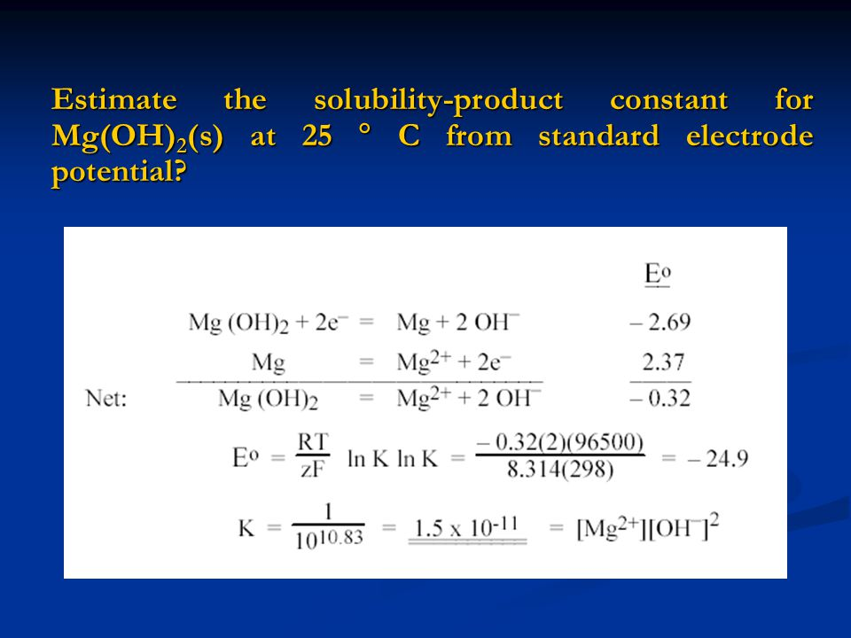 Estimate the solubility-product constant for Mg(OH)2(s) at 25  C from standard electrode potential