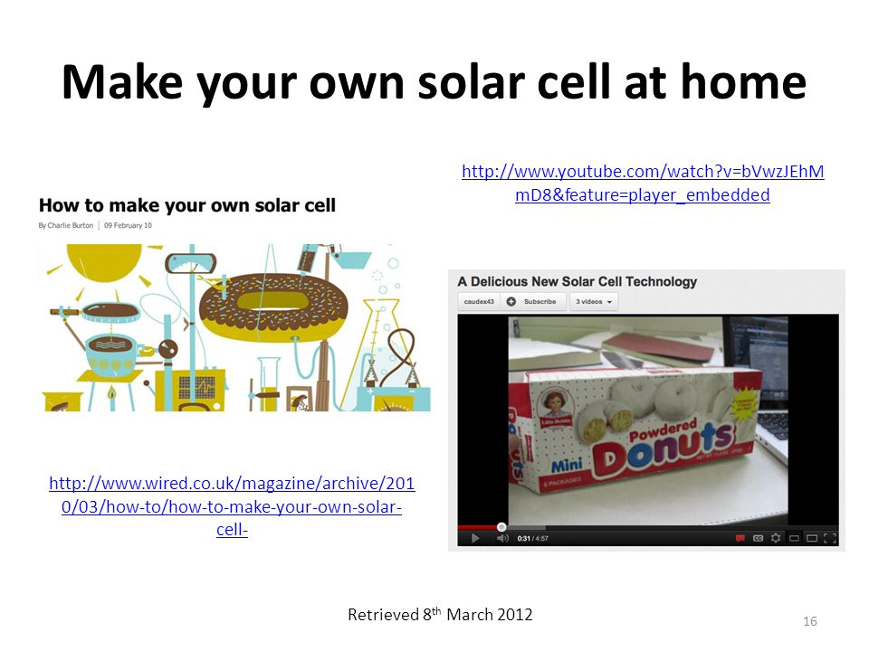 Make your own solar cell at home