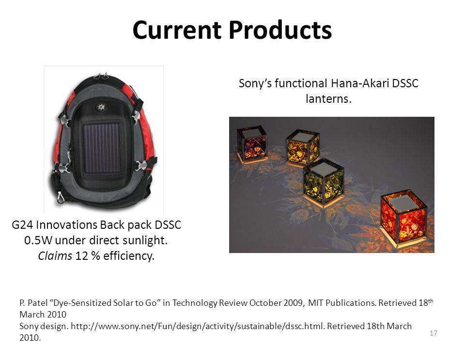 Current Products Sony's functional Hana-Akari DSSC lanterns.