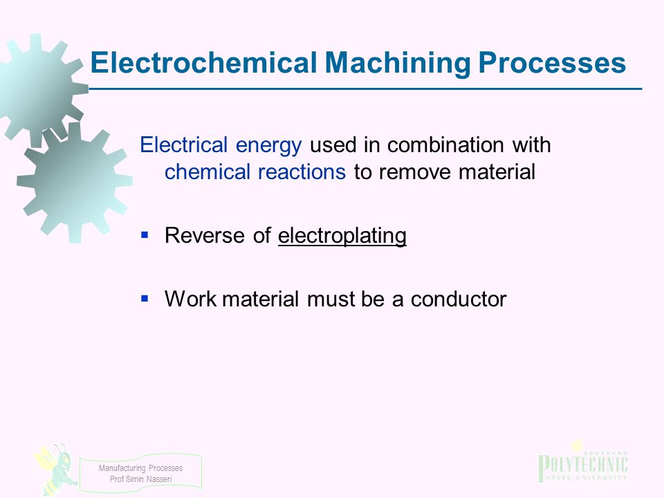 Electrochemical Machining Processes