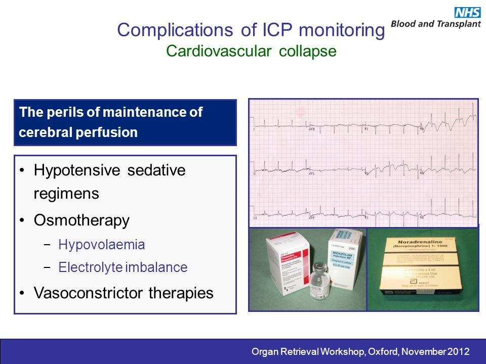Complications of ICP monitoring Cardiovascular collapse