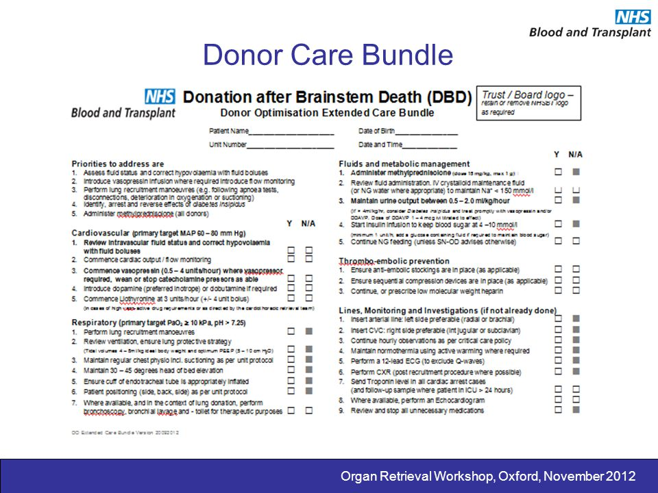Donor Care Bundle Organ Retrieval Workshop, Oxford, November 2012