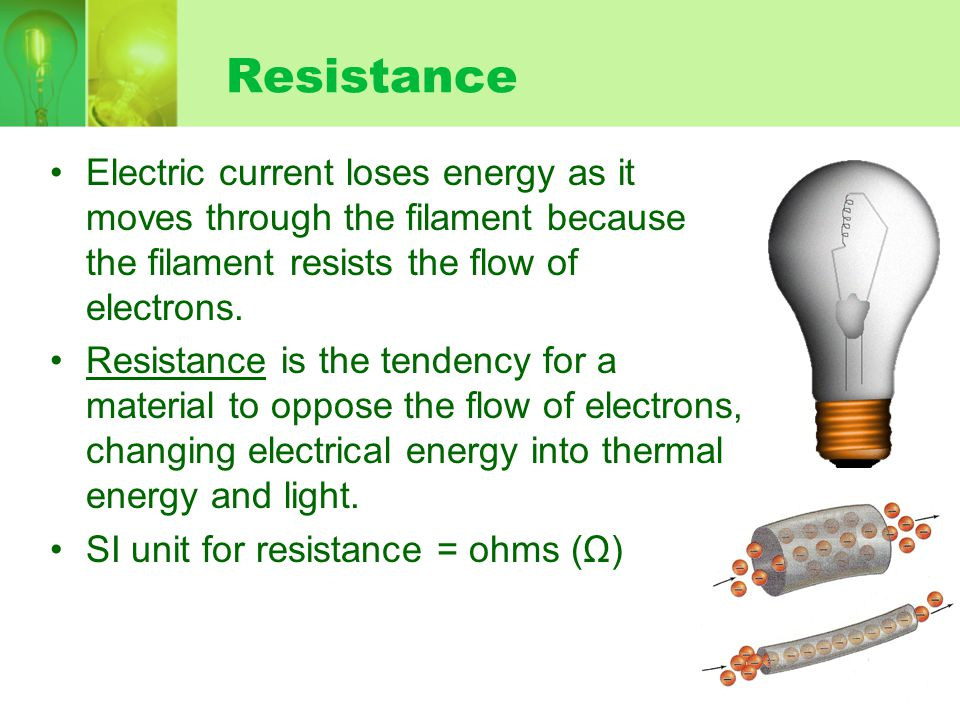 Resistance Electric current loses energy as it moves through the filament because the filament resists the flow of electrons.