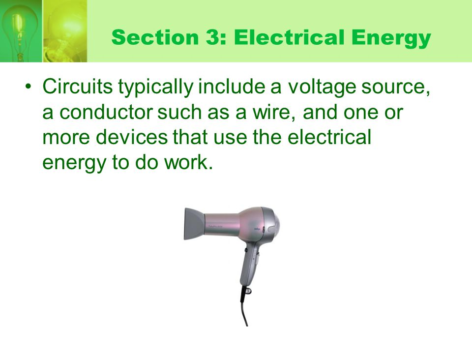 Section 3: Electrical Energy