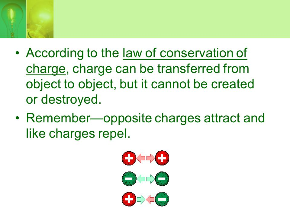 Remember—opposite charges attract and like charges repel.