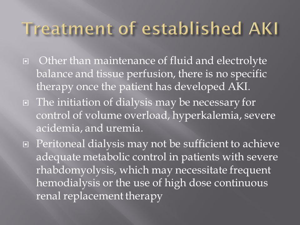 Treatment of established AKI