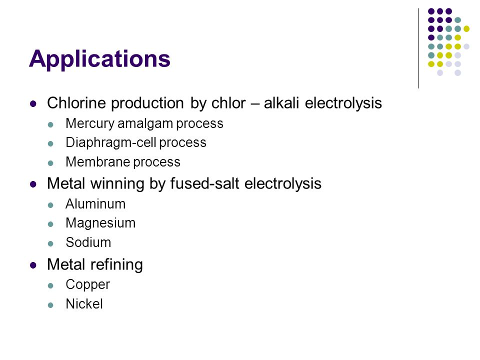 Applications Chlorine production by chlor – alkali electrolysis