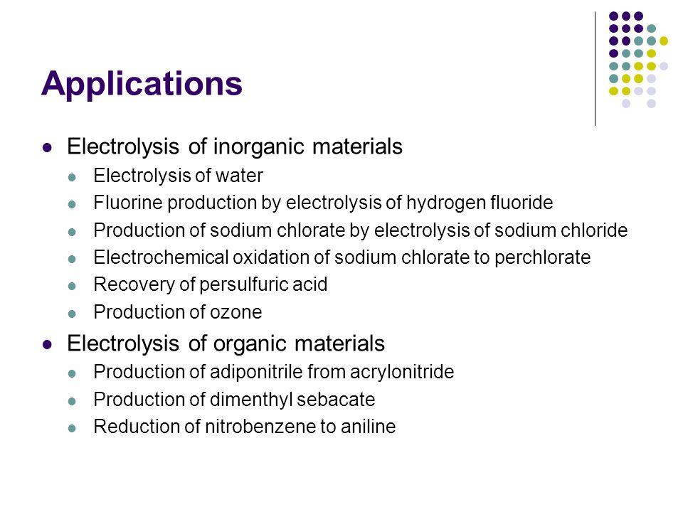 Applications Electrolysis of inorganic materials