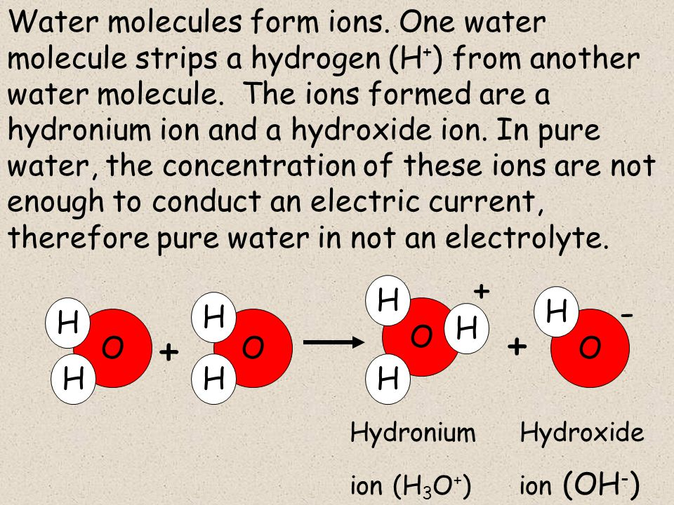 Water molecules form ions