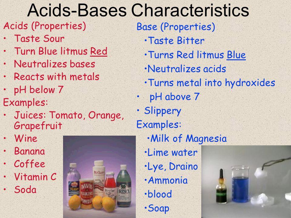Acids-Bases Characteristics
