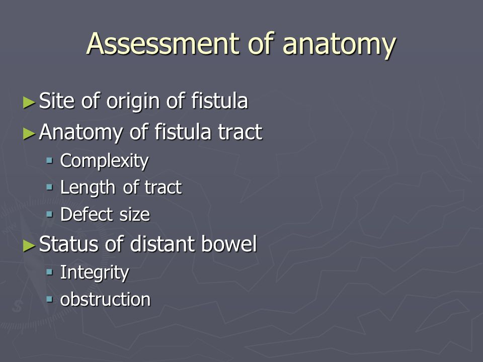 Assessment of anatomy Site of origin of fistula
