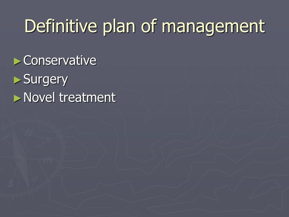 Definitive plan of management