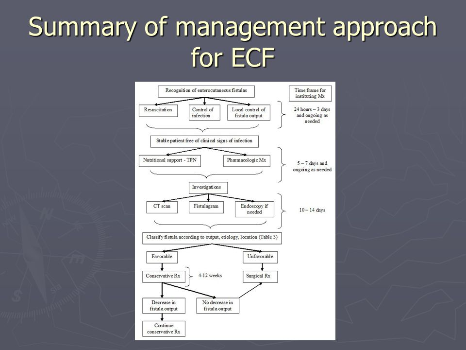 Summary of management approach for ECF