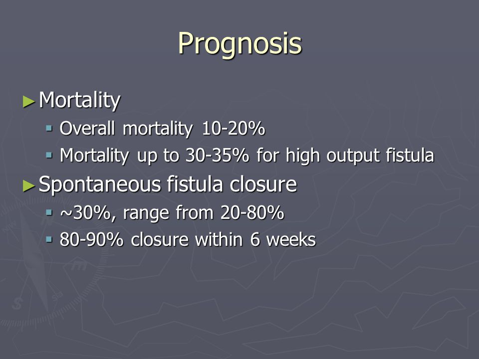 Prognosis Mortality Spontaneous fistula closure