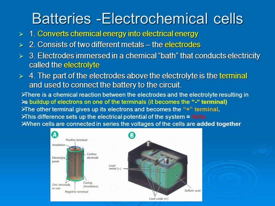 Batteries -Electrochemical cells