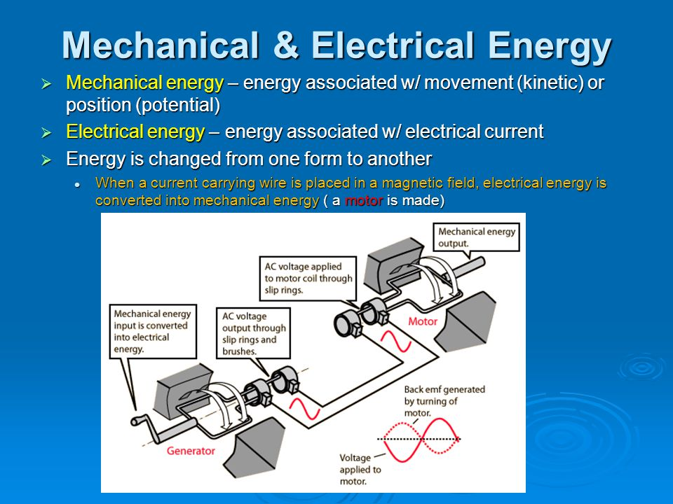 Mechanical & Electrical Energy