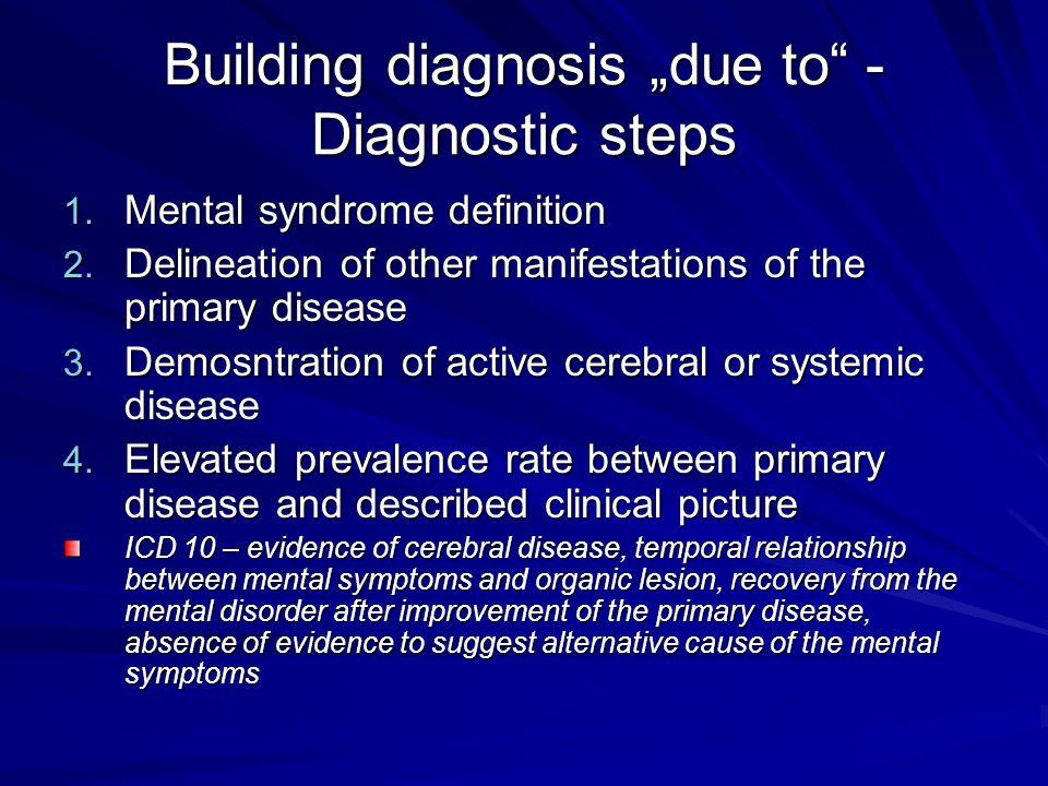 """Building diagnosis """"due to - Diagnostic steps"""